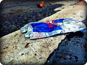Crushed Red Bull Can