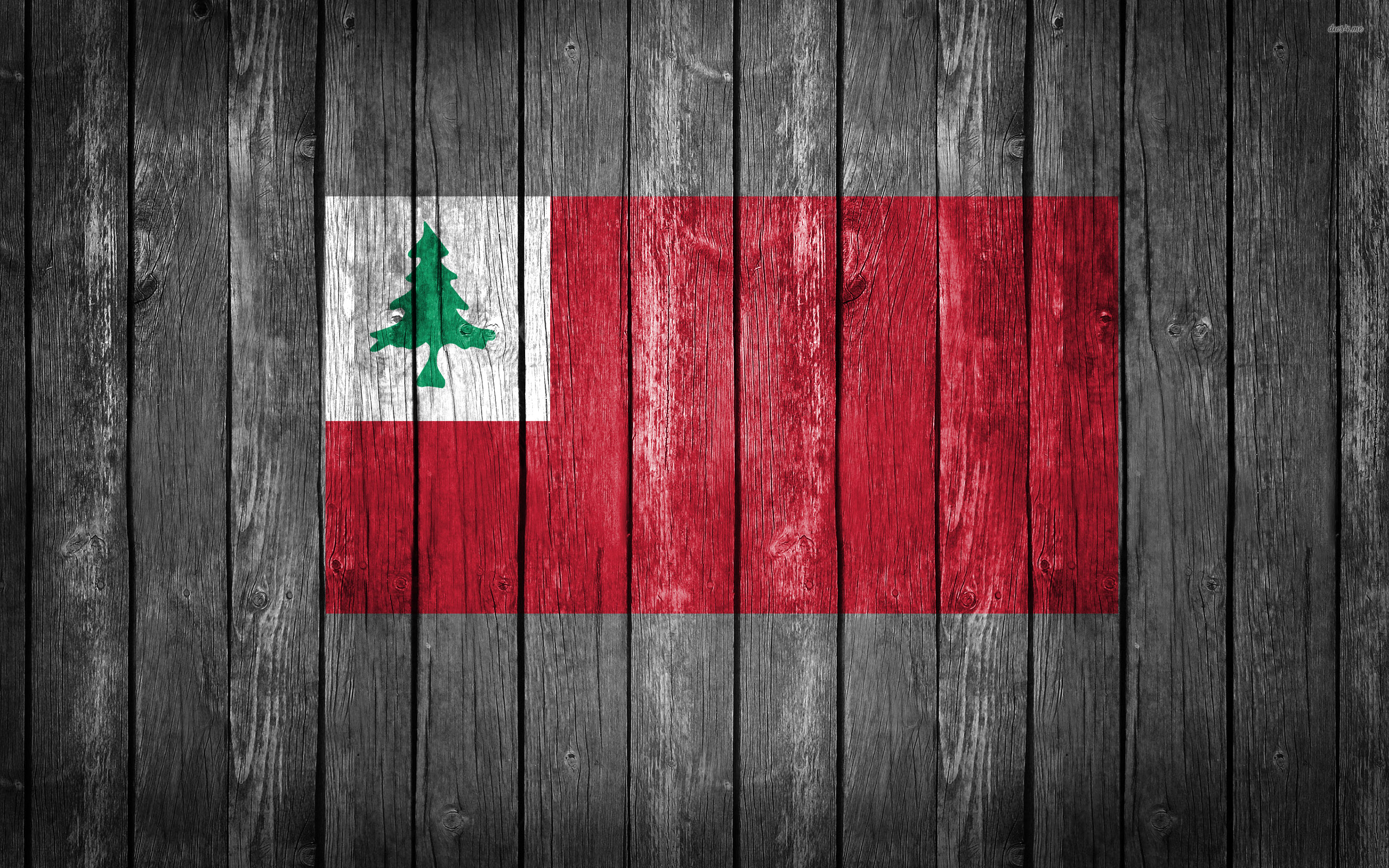 Flag of New England Wood Texture Desktop